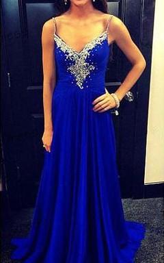 Newest Beadings Chiffon Royal Blue Prom Dress 2016 Zipper Spaghetti Strap