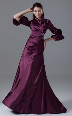 Exquisite Long-Sleeve Side-Ruched Gown with Flower and Beading