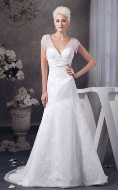 Plunged Caped-Sleeve A-Line Gown with Appliques and Ruched Waist