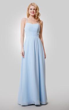 A-Line Chiffon Floor Length Dress With Spaghetti Straps and Keyhole Back