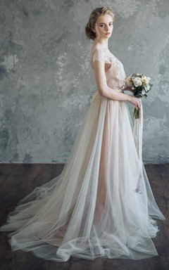 Chiffon&Tulle&Lace Dress With Beading&Appliques