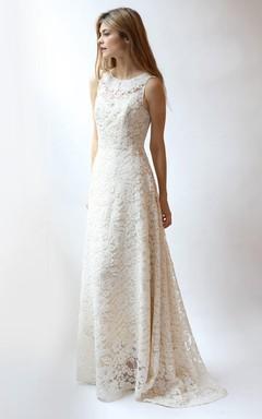 Jewel Neck Sleeveless A-Line Rose Lace Wedding Dress
