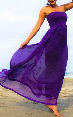 Purple Chiffon Strapless Beach Long Dress