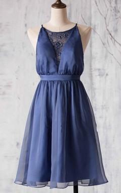 A-line Short Knee-length Spaghetti Strapped Chiffon&Lace Dress
