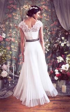 Bateau Cap Button Back Chiffon Wedding Dress With Sash And Pleats