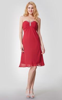Sleeveless Empire Waist Knee Length Chiffon Dress With Beaded Detail