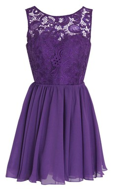 Scoop A-line Short Dress With Lace Bodice and Appliques