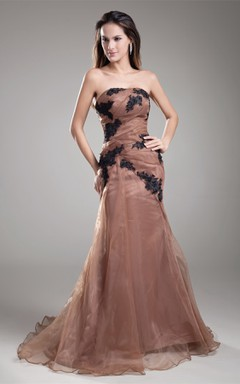 Strapless Mermaid Floor-Length Dress with Appliques