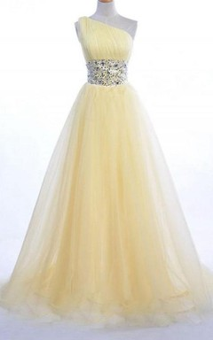 One-shoulder Long A-line Tulle Dress With Beaded Waist