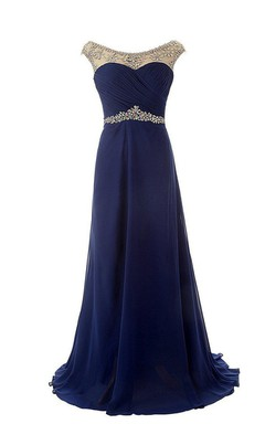 Cap-sleeved Chiffon Dress With Beaded Illusion Style