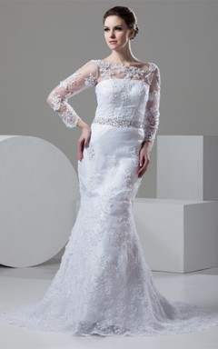 Bateau-Neck Long-Sleeve Mermaid Lace Dress with Illusion