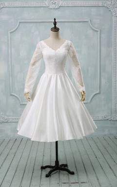 V-Neck Illusion Sleeve Button Back Tea-Length Satin Wedding Dress