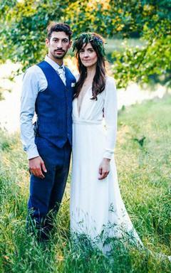 Plunged Long Sleeve Chiffon Casual Wedding Dress With Sweep Train