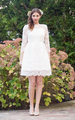 Short Knee-Length Long Sleeve Court Train Lace Satin Dress