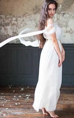 Chiffon Tulle Beaded Lace Wedding Dress