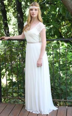 Casual Lace Cap-Sleeve Chiffon Sheath Long Wedding Dress With Deep-V Back