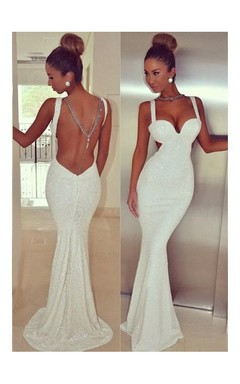 Trumpet Mermaid Straps Sleeveless Sequin Sweep Brush Train Sequins Dresses