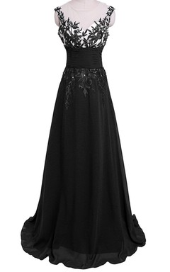 Cap-sleeved Gown With Leaf-like Appliques and Keyhole