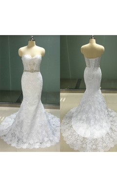 Sweetheart Corseted Mermaid Lace Gown With Crystal Waist and Lace-up
