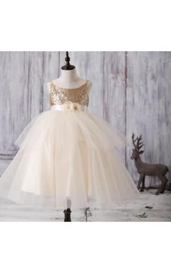 2016 Golden Ruffled Draped Floor Length Mesh Junior Bridesmaid Dress With Flower Sash