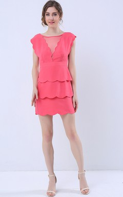 Scalloped Hem Layered Skirt Mini Dress