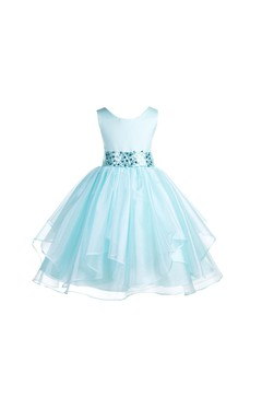 Asymmetric Ruffles Sleeveless Satin Organza Flower Girl Dress With Sequin Sash
