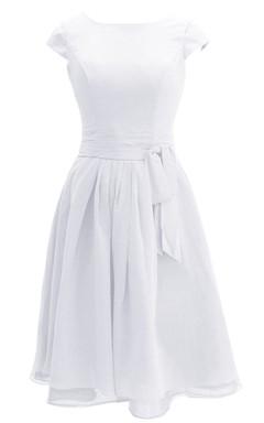 Sleeveless Bateau Neck Knee-length Layered Chiffon Dress