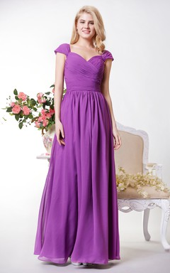 Graceful Chiffon A-line Gown With Cap Sleeves and Spaghetti Straps