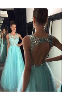 A-Line Princess Sleeveless Beading Tulle Floor-Length Floor-Length Dresses