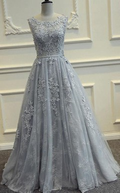 A-line Sleeveless Scoop Long Dress with Appliques