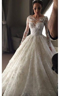 Delicate Illusion Ball Gown Wedding Dress 2016 Tulle Lace Appliques