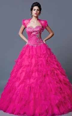 Full Flirty Skirt Quinceanera Gown With Ruffle Detailing Unique Beautiful