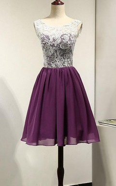 White And Purple Unique Short Beach Bridesmaid Lace Chiffon Short Prom Cocktail Party Gown Wedding Party Dress