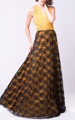 Mustard Yellow Boho Vintage Lace Long Bridesmaid Dress