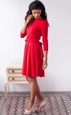 Short Long Sleeve Jersey&Satin Dress