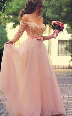 Lovely Princess Beadings Tulle Half Sleeves Long Prom Dress