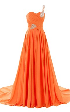 One-shoulder Sweetheart Ruched A-line Gown With Rhinestones