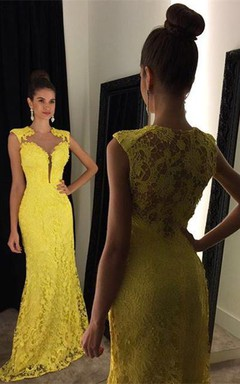 Delicate Yellow Lace 2016 Prom Dress Mermaid Sweep Train