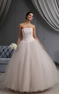 Pink Blushing A-Line Ball Gown With Embroideried Bodice And Soft Tulle