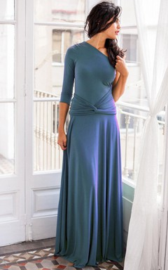 Long Sleeve Jersey&Satin Dress