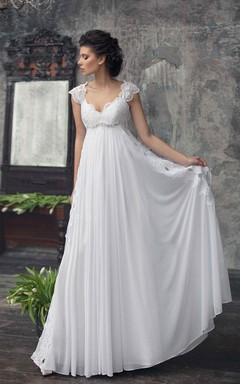 empire cap sleeve chiffon dress with pleats and appliques