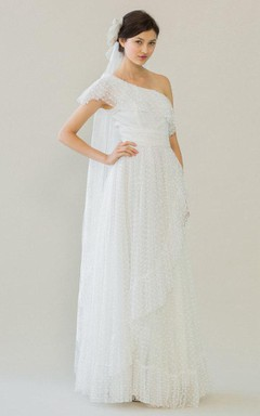 One Shoulder A-Line Dotted Tulle Wedding Dress With Ruffles