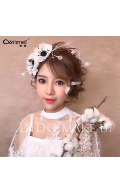 Korean Bride Head Flower Cloth Black Three - Dimensional Wedding Heart Wedding Photo Studio Photo Headdress