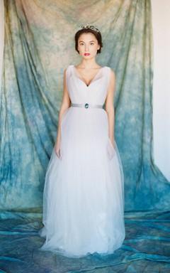 V-Neck Sleeveless Tulle Wedding Dress With Sash