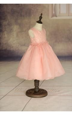 Blush Pink Flower Girl Dress Handmade Flowers Waistband Tulle Skirt and Sequin Bodice