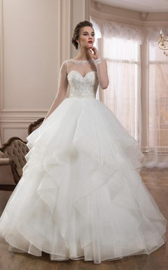 scoop illusion long sleeve ball gown tulle dress with draping
