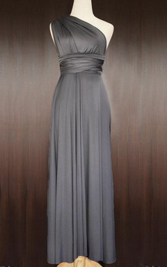 Maxi Slate Bridesmaid Convertible Wrap Full Length Dress
