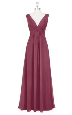 Chiffon Sleeveless Pleated Long Dress With Deep V-Neck