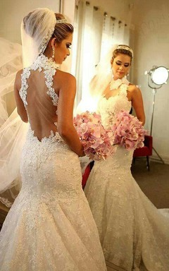 Newest High Neck Mermaid Wedding Dress 2016 Lace Appliques Court Train