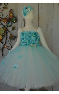 Capri Blue Sleeveless Flower Bust Tulle Special Occasion Dress With Pearls and Bow